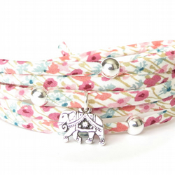 Liberty fabric bracelet with elephant charm and silver beads, gift for girls