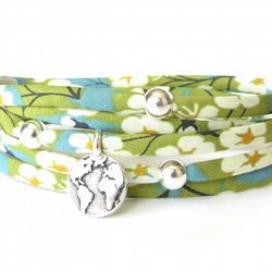 Liberty fabric bracelet in spring green, earth charm bracelet, welcome home gift