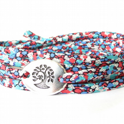 Liberty fabric bracelet with tree charm, confirmation gift, sympathy gift