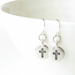 Cross earrings for girls, confirmation gift, french wires sterling silver