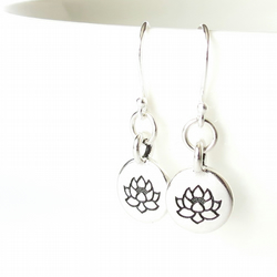 Lotus earrings for Yoga lovers, gifts for girls, french wires sterling silver