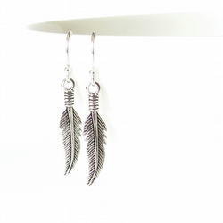 Sterling silver feather earrings, southwestern jewellery, boho earring for women