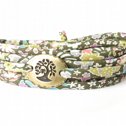 Olive green wrap bracelet with Liberty fabric and tree charm