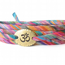 Yoga bracelet with colourful Liberty fabric and Ohm charm, gift for her
