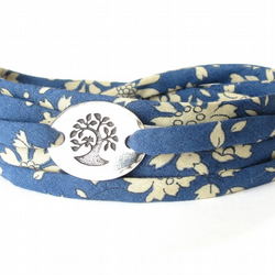 Blue multi wrap bracelet with Liberty fabric and tree charm, gifts for teens
