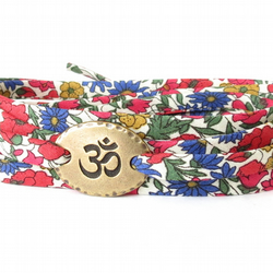 Yoga bracelet with Ohm charm on Liberty fabric, gift for teen girls and women