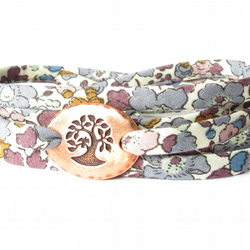 Valentine's gift idea for girls, layering bracelet with floral Liberty fabric