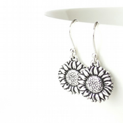 Sunflower earrings, gift for gardener, nature jewellery