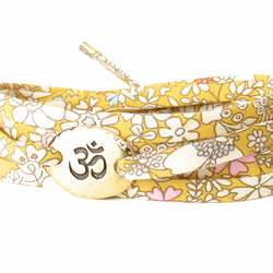 Yellow Om bracelet for Yoga lovers, meditation accessories for her