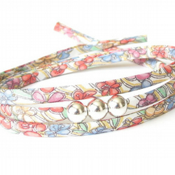 Summer flowers wrap bracelet with 3x silver focal beads