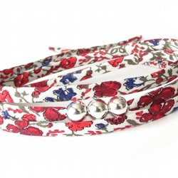 Dainty Liberty fabric triple wrap bracelet with sterling silver beads