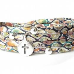 Cross bracelet with earthy coloured Liberty fabric, sympathy gift for women