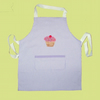 Childs baking apron with cup cake