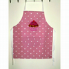 Girls baking apron with applique cup cake