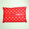 Pocket tissue holder - red and white spot fabric