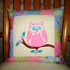 Cushion - Owl and patchwork pink