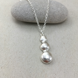 Sterling Silver Triple Pebble Necklace