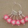 Crochet Stitch Markers Set of 6 Hearts Fimo