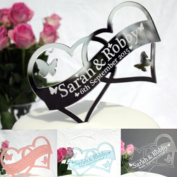 Personalised  Double Heart Wedding Cake topper - your names and date