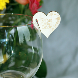 Personalised Wedding table name places for wine, champagne glass in Wood.