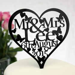 Personalised Heart Mr & Mrs Cake topper with Name and Date