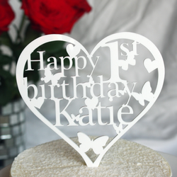 Heart Birthday Cake Topper Personalised with ANY Name and Age
