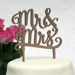 Mr & Mrs cake topper in wood - 3 woods available