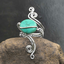 wire wrapped silver copper ring with Turquoise Puffy Ovals  Gemstone.