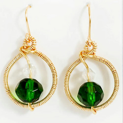 Gold  earrings, wire wrapped with green faceted beads