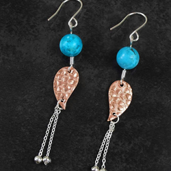 Rose Gold Plated Copper Leaf Connectors earrings.