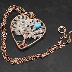 Tree of Life with moon pendant ,heart shape necklace.