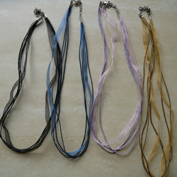 Ribbon and Cotton Cord Necklaces