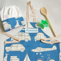Toddler Apron Chef Hat Blue Transport Cotton Apron with Printed Name 1 to 3 year