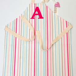 Toddler Apron Pink Candy Stripe Cotton INITIAL or Cut Linen Letters - 1-3 year