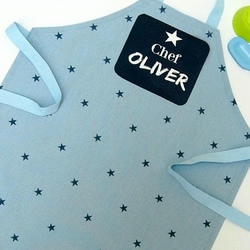 Toddler Apron - Blue Star Cotton Apron with Printed Name plaque 1 to 3 year