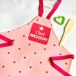 Child's Apron - Pink Star Cotton Apron with Printed Name plaque  3-6yr or 7-10yr