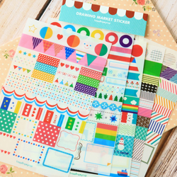 Rainbow Market scrapbooking diary stickers