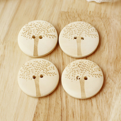 Tree Engraved Natural Wooden Buttons