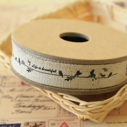 Birds Life is Beautiful cartoon cotton linen sewing tape ribbon