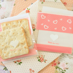 Pink Hearts and Bows cellophane cookie bags sweets bags