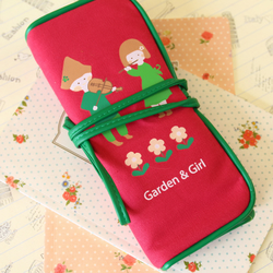 Pink Garden Girl rolling pen bag