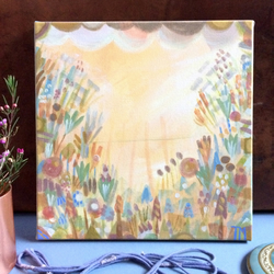 Painting of pretty flowers, soft and gentle colours, abstract feel