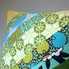 Apple Green Striped Patchwork Cushion Cover