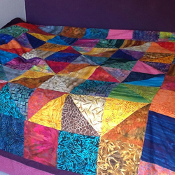 Colourful Batik Parchwork Quilt SOLD