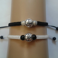 Yin yang bracelet couples set - black and white
