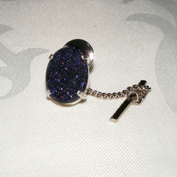 Tie Pin or Tack in Sterling Silver featuring Super Sparkly Blue Goldstone