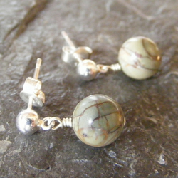 Small drop Earrings in sterling silver with Picasso Jasper Gemstone Beads