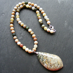 Necklace with Ocean Jasper, Mixed Agates and White Jade - Sterling Silver Clasp
