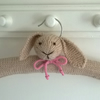 Hand knitted childrens Bunny Clothes Hanger with pink bow tie