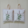 Embroidered English lavender bag - pink foxglove